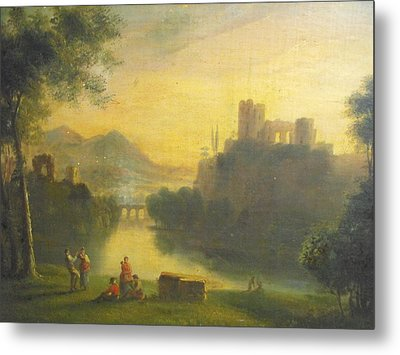 Medieval Landscape With People Metal Print by Unknown