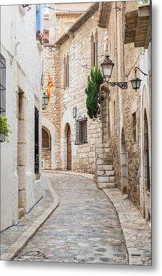 Medieval Street In Sitges Old Town Spain Metal Print