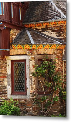 Medieval Window And Rose Bush In Germany Metal Print by Greg Matchick
