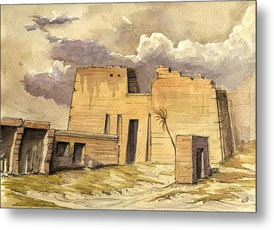 Medinet Temple Egypt Metal Print by Juan  Bosco