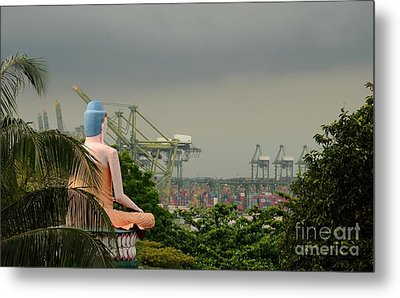 Metal Print featuring the photograph Meditating Buddha Views Container Seaport Singapore by Imran Ahmed