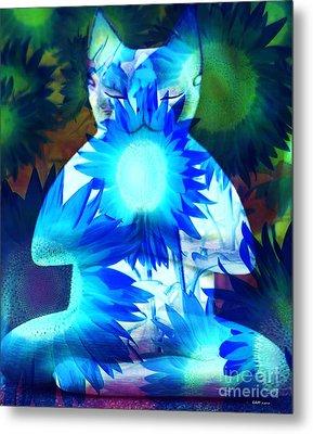 Meditation Kitty / Midnight Meditations On The Blue Sunflower Metal Print by Elizabeth McTaggart