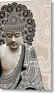 Meditation Mehndi - Paisley Buddha Artwork - Copyrighted Metal Print by Christopher Beikmann