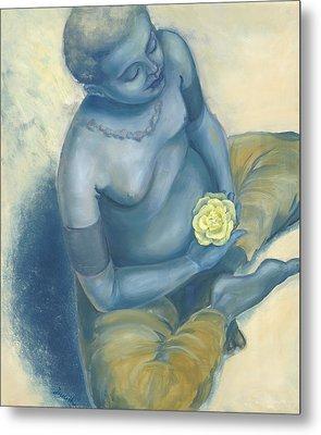 Meditation With Flower Metal Print by Judith Grzimek