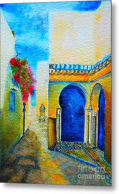 Metal Print featuring the painting Mediterranean Medina by Ana Maria Edulescu