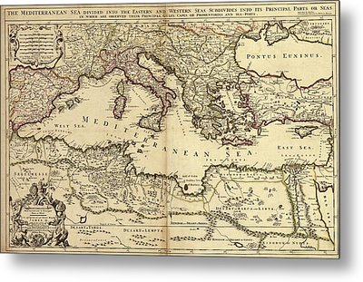 Mediterranean Sea Metal Print by Library Of Congress, Geography And Map Division