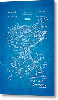 Meditz Helicopter Device Patent Art 1969 Blueprint Metal Print by Ian Monk