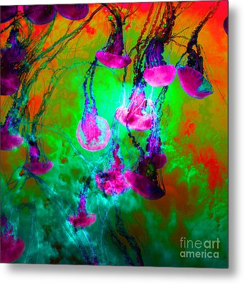 Medusas On Fire 5d24939 Square P128 Metal Print by Wingsdomain Art and Photography