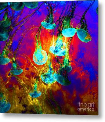 Medusas On Fire 5d24939 Square Metal Print by Wingsdomain Art and Photography