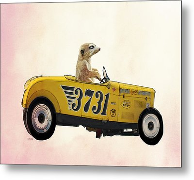 Meerkat And Hot Rod Metal Print