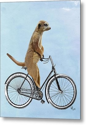 Meerkat On A Bicycle Metal Print