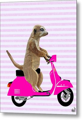 Meerkat On A Pink Moped Metal Print