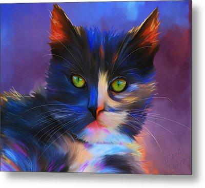 Meesha Colorful Cat Portrait Metal Print