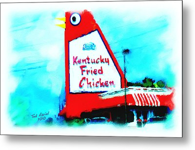 Metal Print featuring the painting Meet Me At The Big Chicken by Ted Azriel
