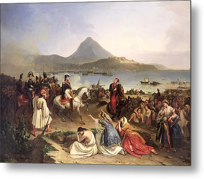 Meeting Between General Nicolas Joseph Maison 1771-1840 And Ibrahim Pasha 1789-1848 At Navarino Metal Print by Jean Charles Langlois
