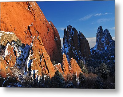 Megaliths With Snow At Sunset Metal Print by John Hoffman