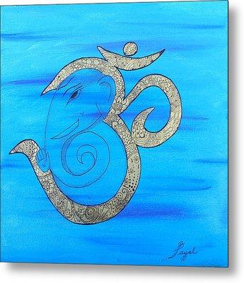 Mehndi Ganesh In Ohm  Metal Print