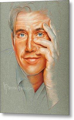 Mel Gibson Pencil Portrait Metal Print