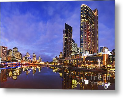 Melbourbe Skyline And Yarra River At Twilight Square Metal Print by Colin and Linda McKie