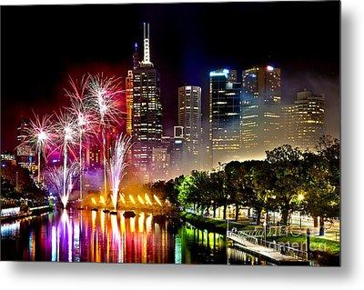 Melbourne Fireworks Spectacular Metal Print by Az Jackson