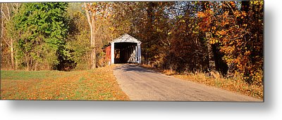 Melcher Covered Bridge Parke Co In Usa Metal Print by Panoramic Images