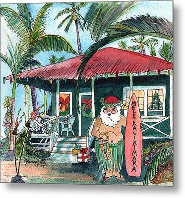 Mele Kalikimaka Hawaiian Santa Metal Print