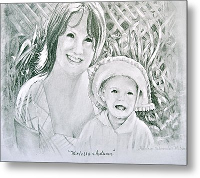 Metal Print featuring the painting Melissa And Autumn by Patricia Schneider Mitchell