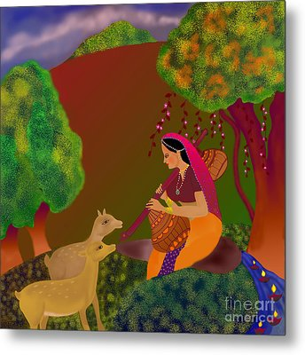 Metal Print featuring the digital art Melodious-ragamala by Latha Gokuldas Panicker