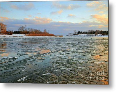 Melting Ice At Dusk Metal Print by Charline Xia