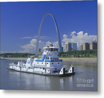 Memco Towboat In St Louis Metal Print by Garry McMichael