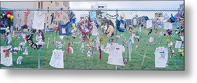 Mementos On Chain Link Fence, Memorial Metal Print