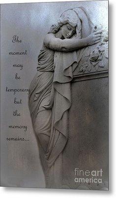 Memorial Art Statue - Haunting Cemetery Statue Inspirational Art Metal Print