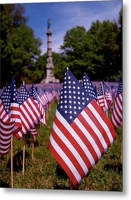 Memorial Day Flag Garden Metal Print