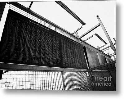 Memorial Wall With Names Of Nine Eleven Victims On The Fence At World Trade Center Ground Zero Metal Print