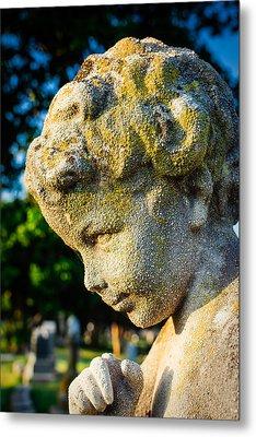 Memphis Elmwood Cemetery - Boy Angel Vertical Metal Print by Jon Woodhams