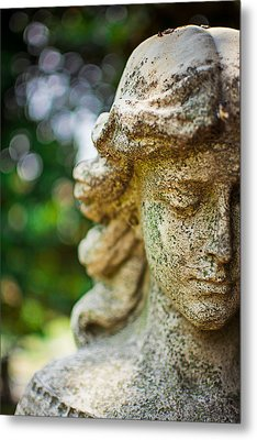 Memphis Elmwood Cemetery - Girl With Cross Close-up Metal Print by Jon Woodhams