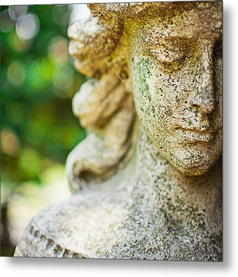 Memphis Elmwood Cemetery - Girl With Cross Square Metal Print by Jon Woodhams