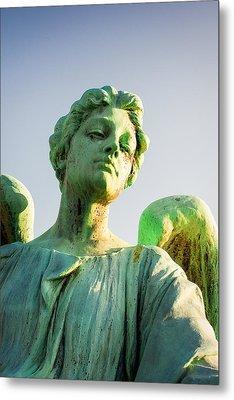 Memphis Elmwood Cemetery - Patinated Angel Metal Print by Jon Woodhams