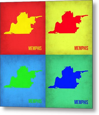 Memphis Pop Art Map 1 Metal Print by Naxart Studio