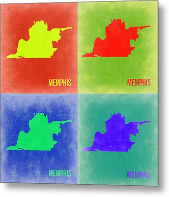 Memphis Pop Art Map 2 Metal Print by Naxart Studio