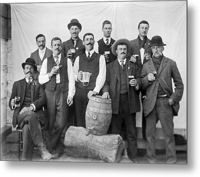 Men Around A Keg Of Beer Metal Print
