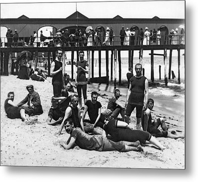 Men Bathers By The Boardwalk Metal Print by Underwood Archives