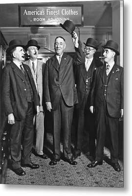 Men, Hats, And Cigars Metal Print by Underwood Archives