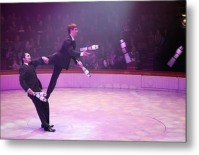 Men In Suits Juggling Metal Print