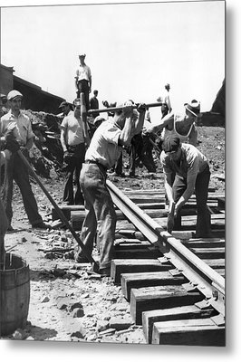 Men Laying Railroad Track Metal Print