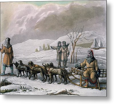 Men Of Kamchatska, With A Dog Sleigh Metal Print