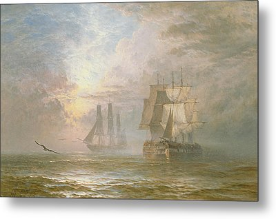 Men Of War At Anchor Metal Print by Henry Thomas Dawson