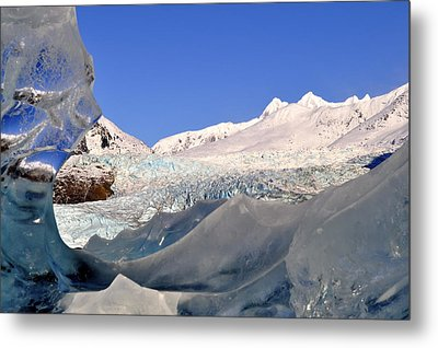 Metal Print featuring the photograph Mendenhall Glacier Refraction by Cathy Mahnke