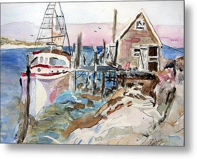 Metal Print featuring the painting Menemsha Harbor by Michael Helfen