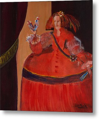 Menina In Red With Small Cockerel Oil & Acrylic On Canvas Metal Print by Marisa Leon
